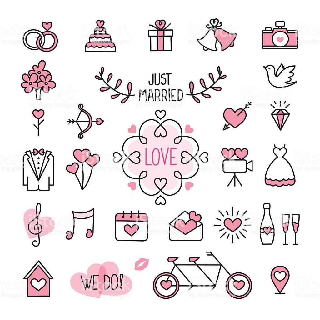 Hochzeit Symbole  Hochzeit Symbole Stock Vektor Art und mehr Bilder von