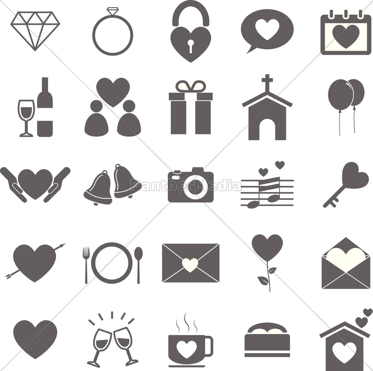 Hochzeit Symbole  hochzeit symbole auf weißem hintergrund Stockfoto