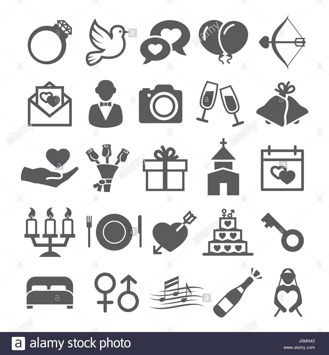 Hochzeit Symbole  Icons Hochzeit