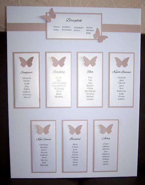 Hochzeit Tischplan  Tischplan dezent mit Schmetterlingen