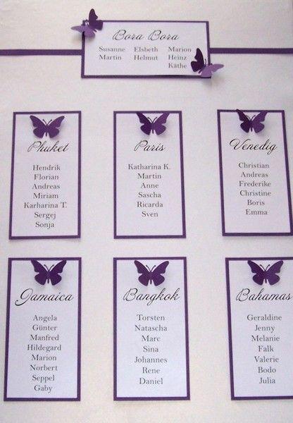 Hochzeit Tischplan  Tischplan Hochzeit Schmetterlinge grün pink lila