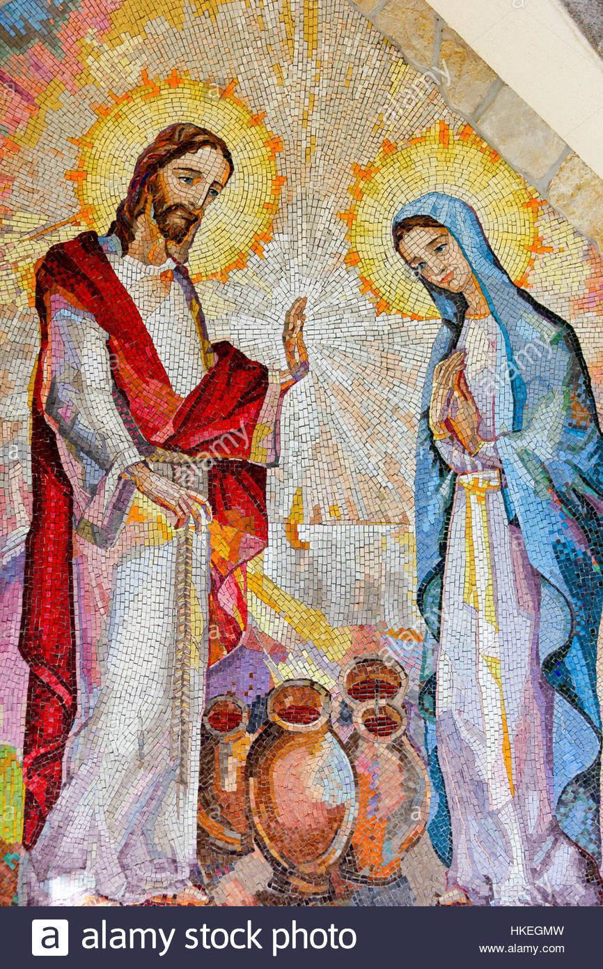Hochzeit Von Kana  Mosaik von der Hochzeit von Kana in Galiläa wo Jesus