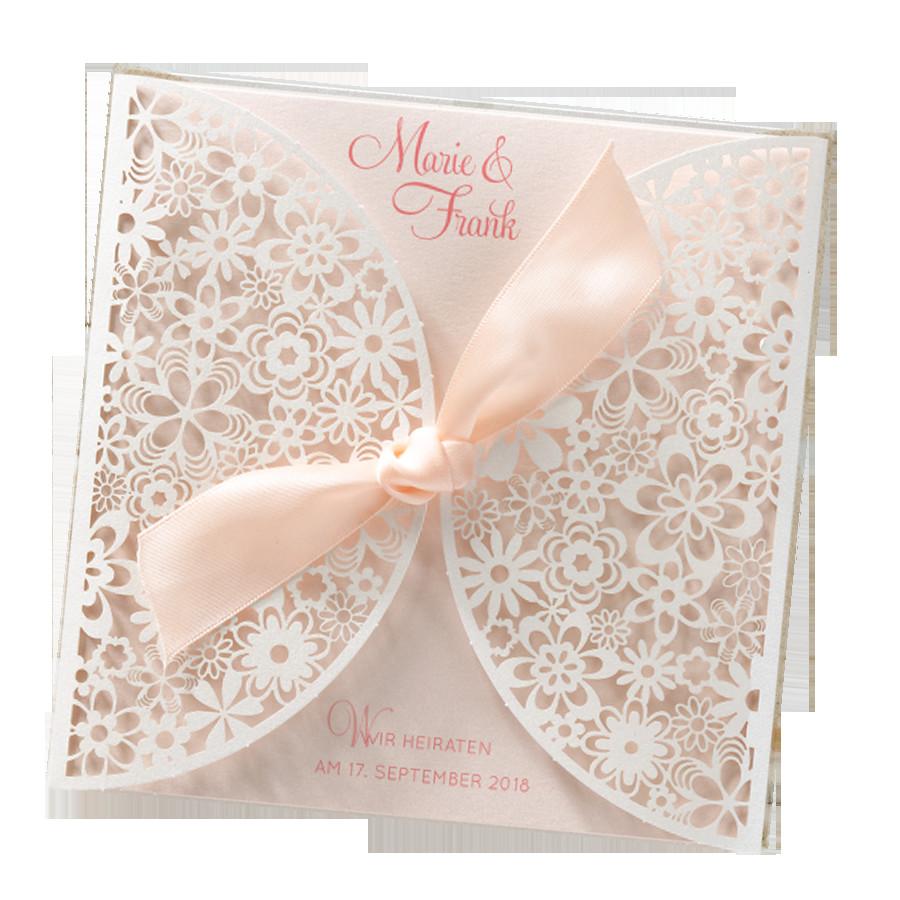 """Hochzeitskarten Bestellen  Romantische Hochzeitskarten """"Blumenspitze"""" edel"""