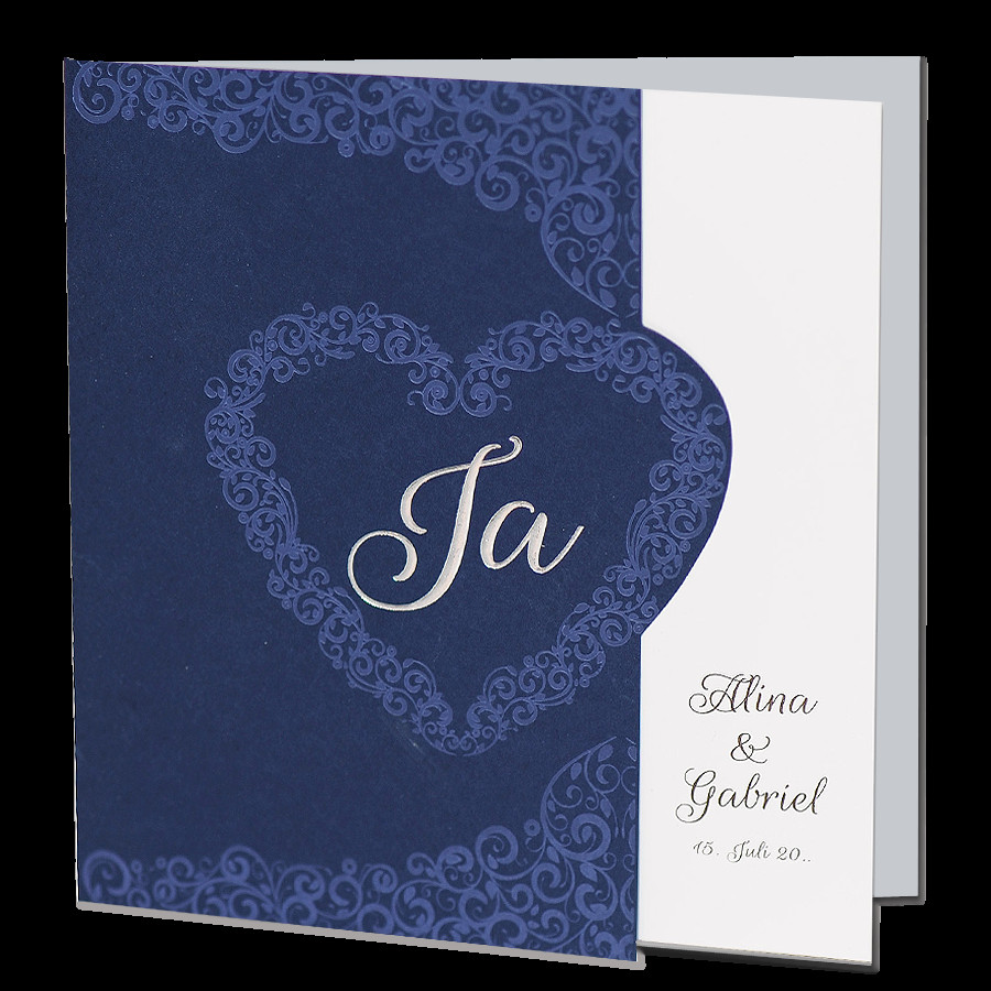 Hochzeitskarten Bestellen  Dunkelblaue Hochzeitskarten bestellen