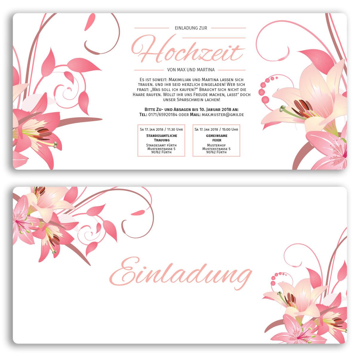 Hochzeitskarten Bestellen  Einladungskarten zur Hochzeit als Eintrittskarte Ticket