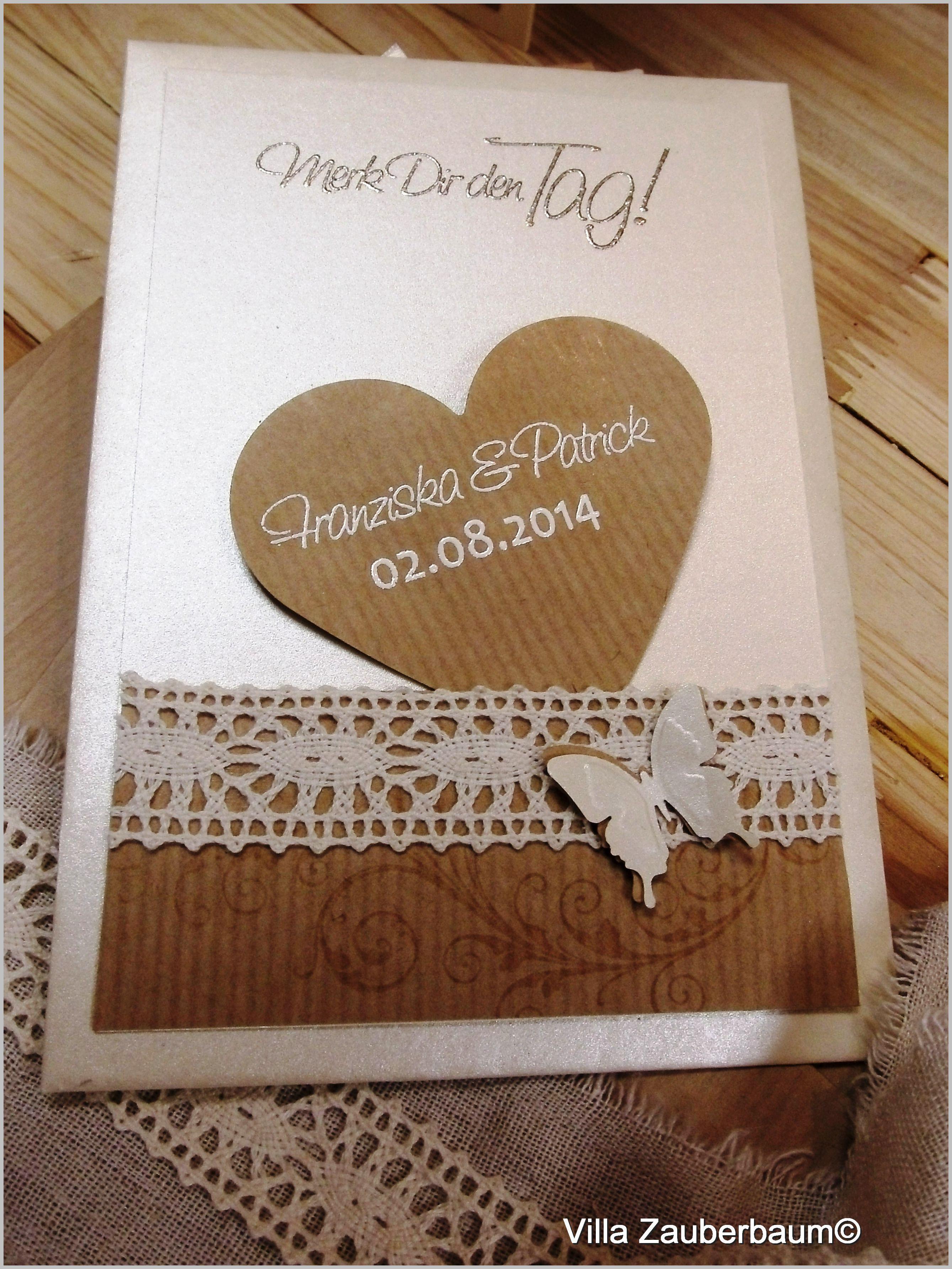 Hochzeitskarten Günstig  Bastelset Save The Date Vintage Butterfly Bastelt Eure