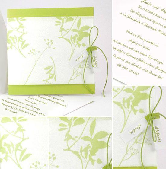 Hochzeitskarten Günstig  12 hochzeitskarten linie guenstig gruen blaetter selber