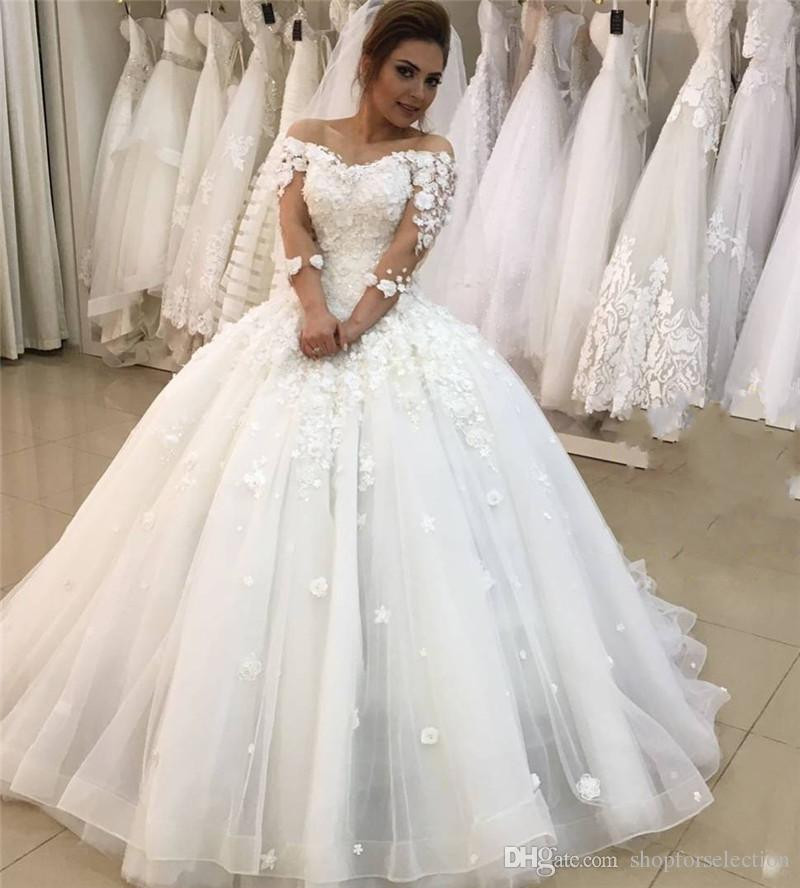 Hochzeitskleid 2019  Großhandel Prinzessin 3D Floral Ballkleid Brautkleider