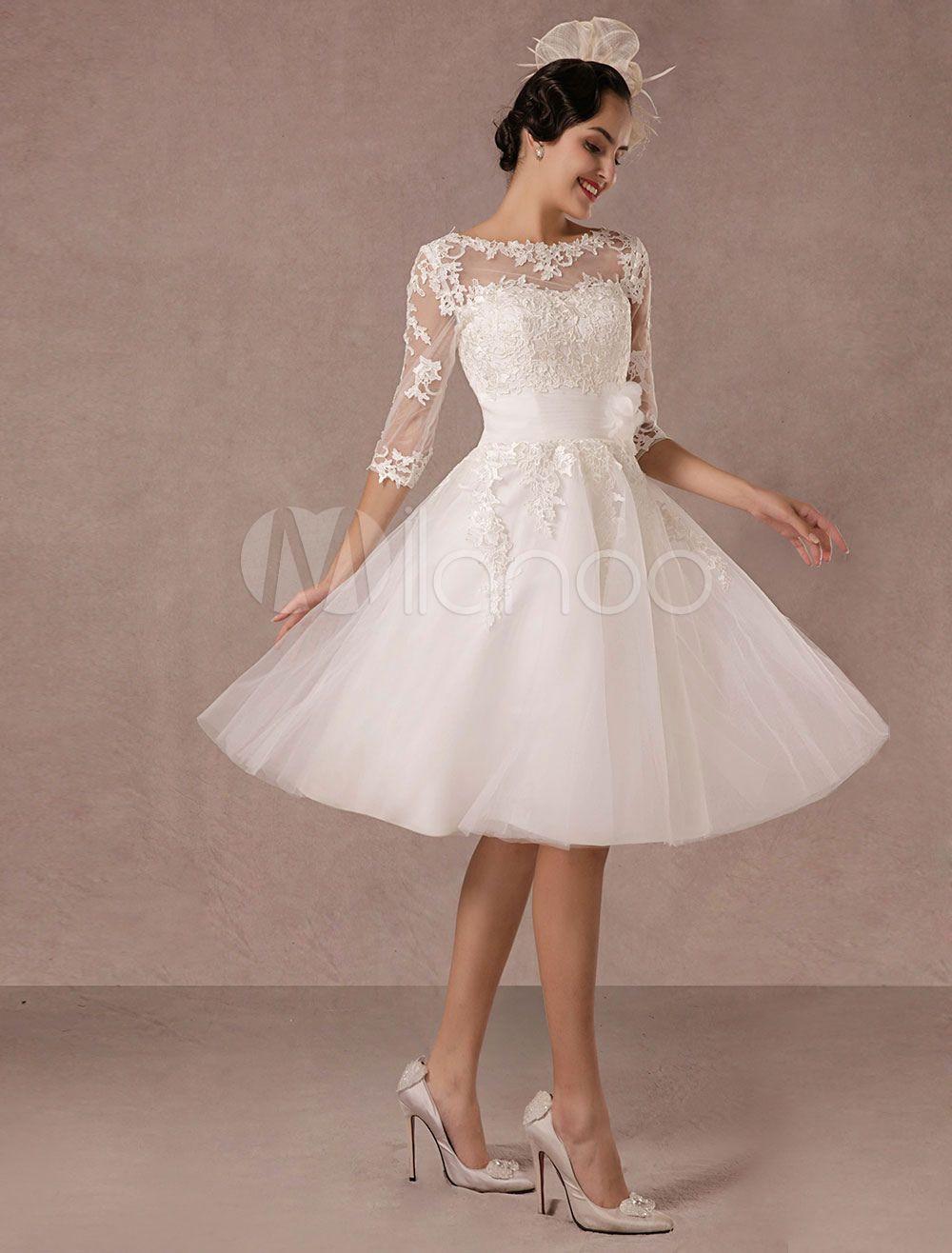 Hochzeitskleid 2019  Kurz Hochzeitskleid 2019 Vintage Spitzenapplikation Lange