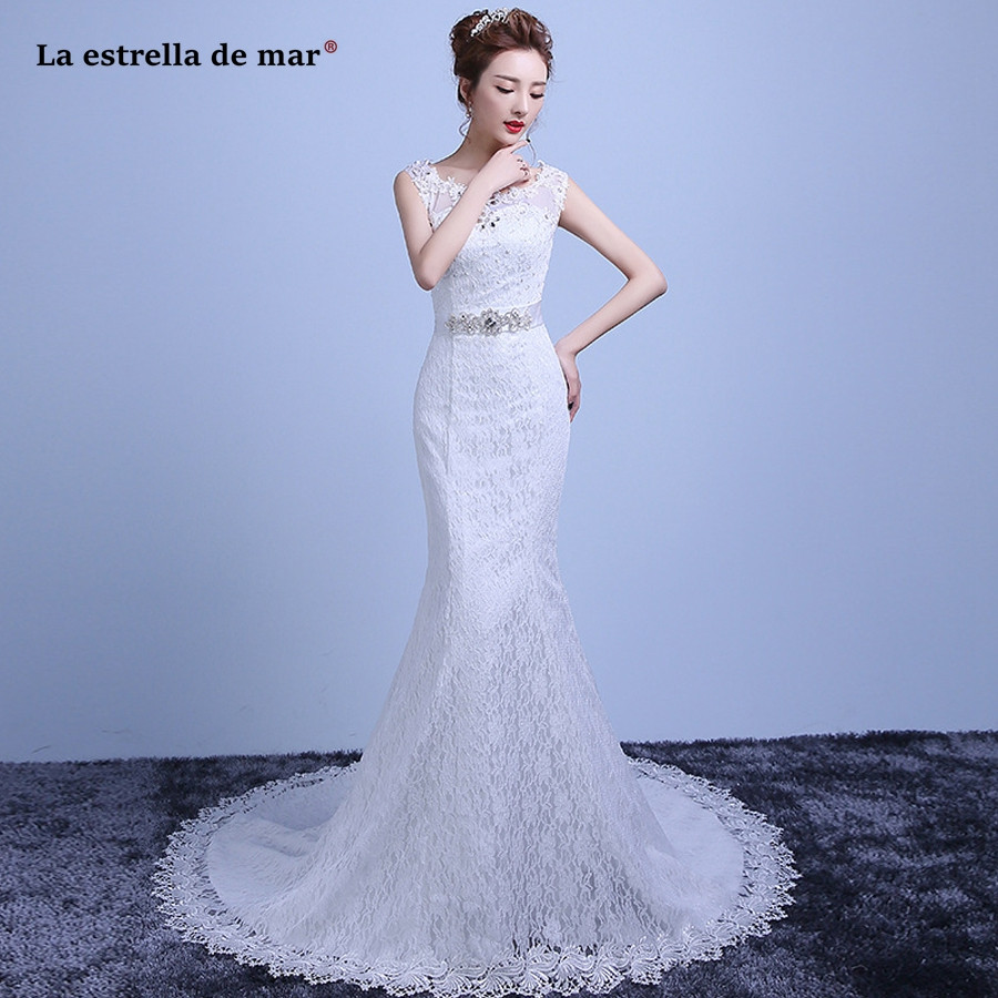 Hochzeitskleid 2019  hochzeitskleid 2019 hot Scoop neck lace back white