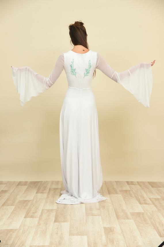 Hochzeitskleid Grün  Mint grün Hochzeitskleid bestickt lange Ärmel Vintage
