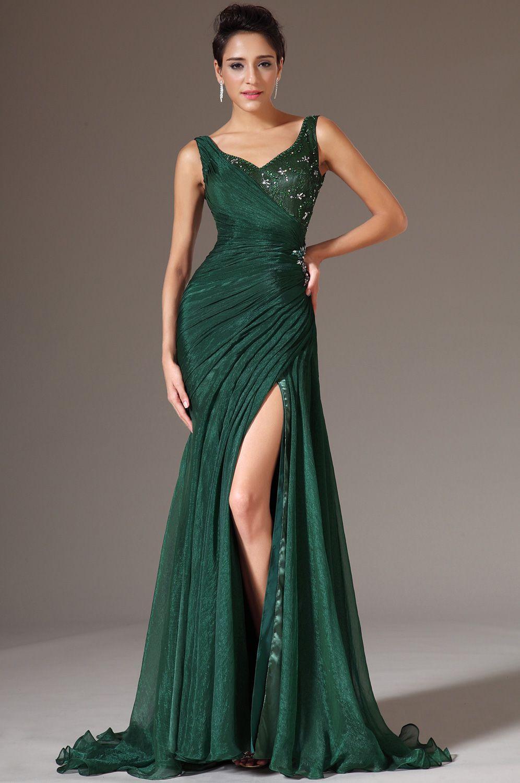 Hochzeitskleid Grün  eDressit Grün mit V Ausschnitt Hohe Spalt Abend Gown Visit