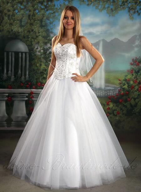 Hochzeitskleid M  Luxus Brautkleid mit abnehmbarer Schleppe Herzausschnitt