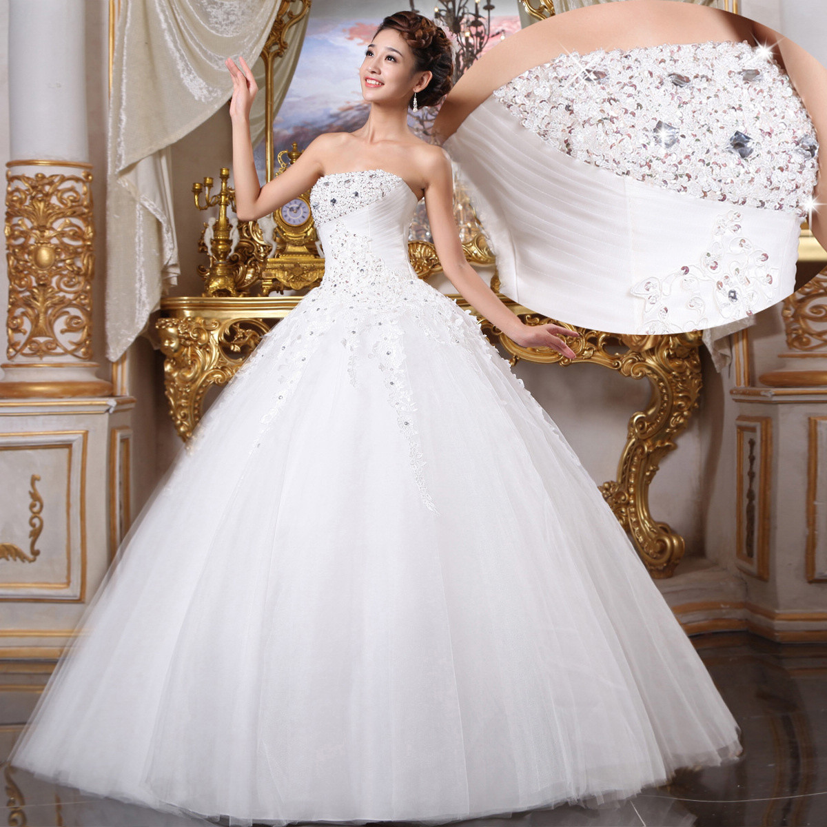 Hochzeitskleid Prinzessin Glitzer  Brautkleid Mit Spitze Und Tüll