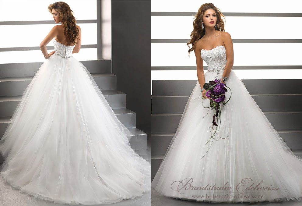 Hochzeitskleid Tüll  Brautstudio Edelweiss Brautmoden Abendmoden und