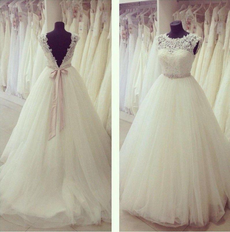 Hochzeitskleid Tüll  Neu Elfenbein Spitze Hochzeitskleid Tüll Brautkleid