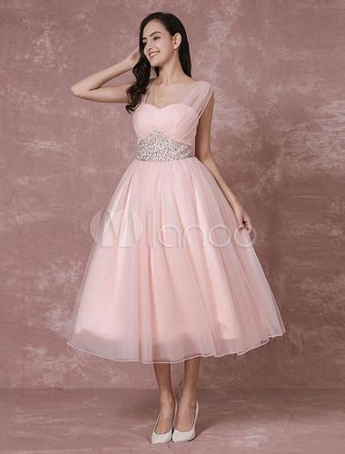 Hochzeitskleid Tüll  Hochzeitskleid Rosa Brautkleid kurze rückenfreie