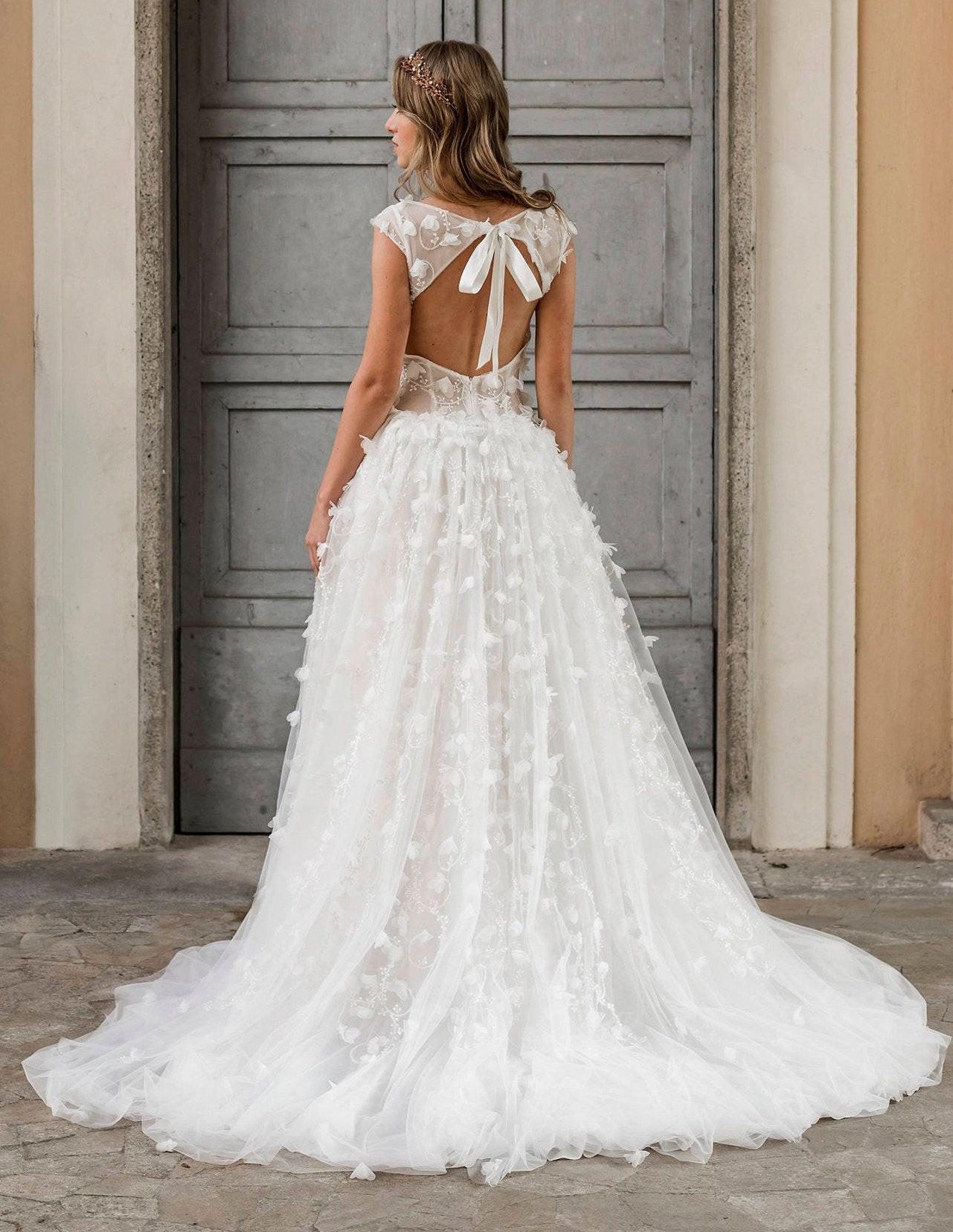 Hochzeitskleid Tüll  3D Spitze Brautkleid rückenfreie Hochzeitskleid Tüll