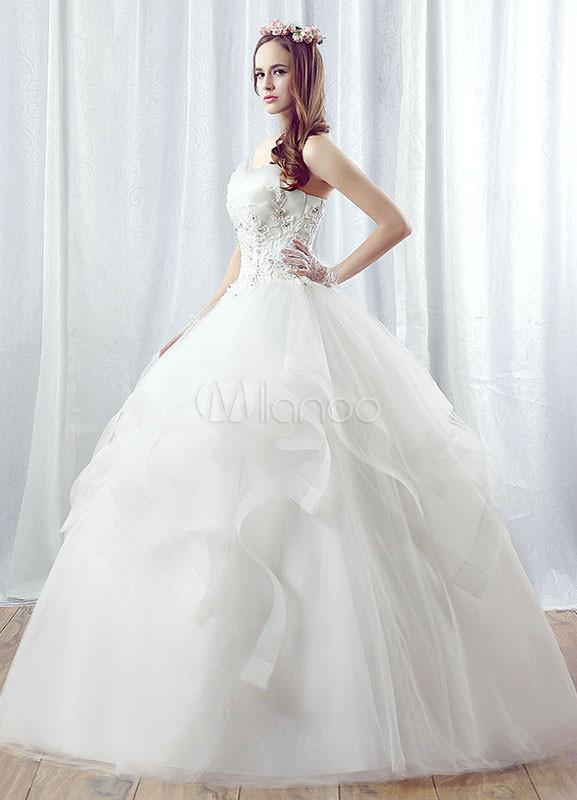 Hochzeitskleid Tüll  Prinzessin Hochzeitskleid Tüll Maxi trägerlosen Brautkleid