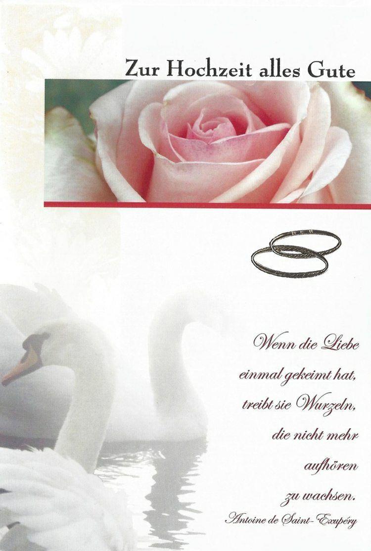 Hochzeitssprüche Für Karten Gratulation  glückwünsche zur hochzeit spruch schwaene rosen eheringe