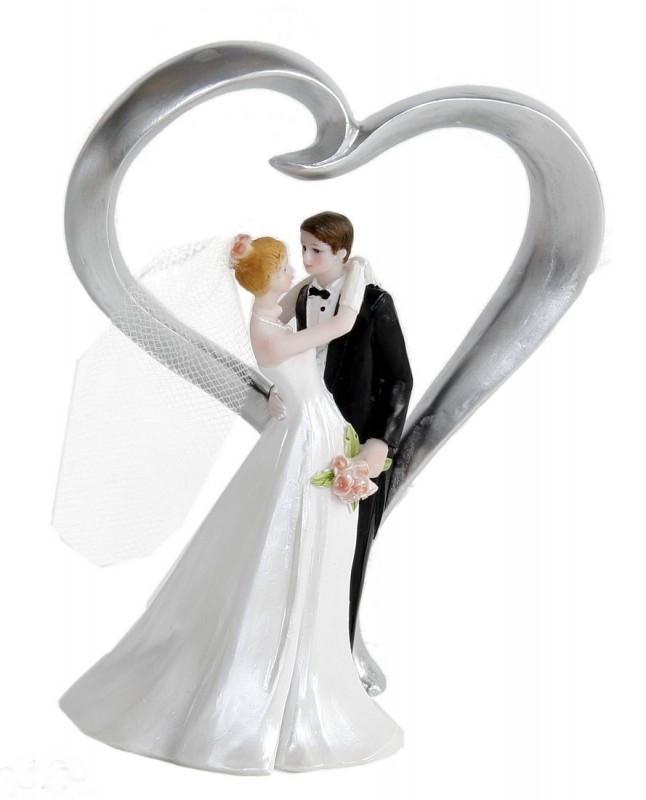 Hochzeitstorte Brautpaar  Figur Zierfigur Tortenfigur BRAUTPAAR HERZ Hochzeit