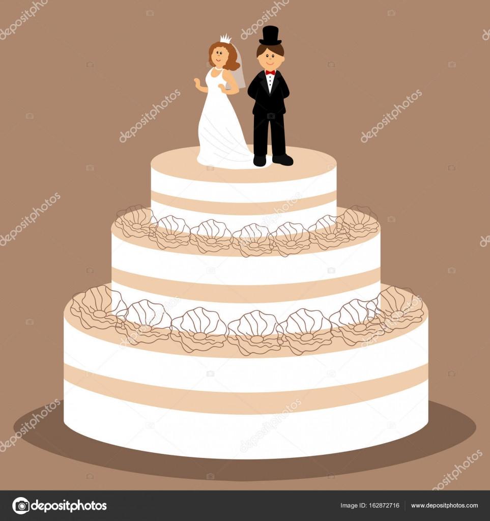 Hochzeitstorte Brautpaar  Hochzeitstorte mit Brautpaar Figur — Stockvektor