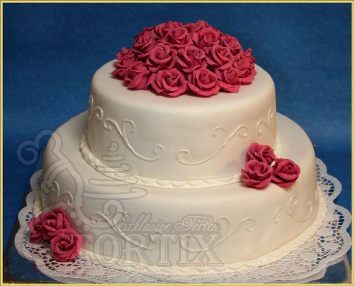 Hochzeitstorte Mit Rosen  Tortix Hochzeitstorte mit pink Rosen