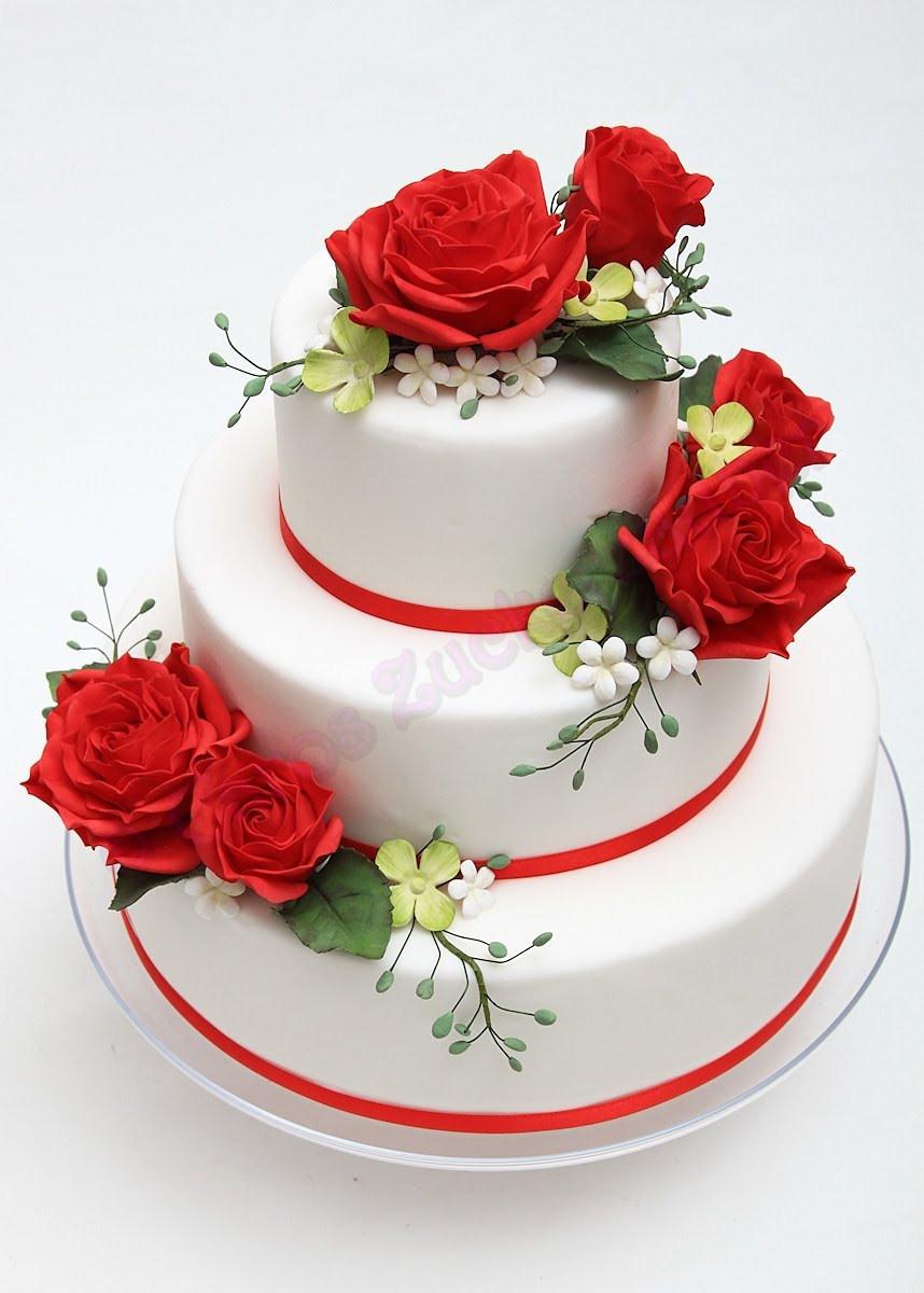 Hochzeitstorte Mit Rosen  Caros Zuckerzauber Blog Zuckerblumen Motivtorten und