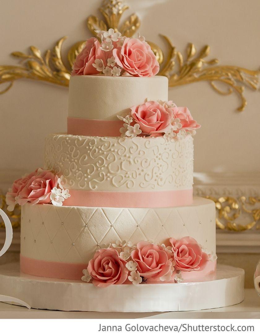 Hochzeitstorte Mit Rosen  Hochzeitstorte 3 stöckig mit rosa Rosen für Hochzeit
