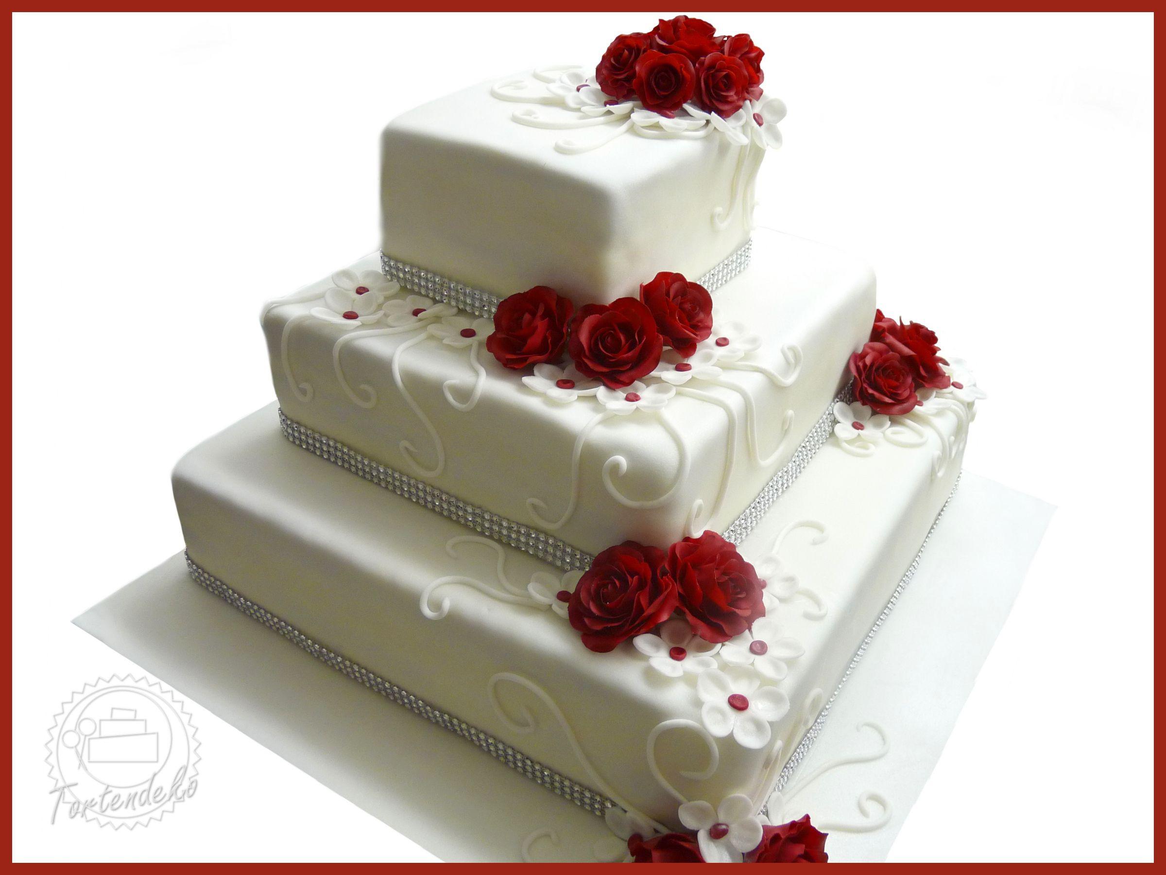 Hochzeitstorte Rot Weiß  Eckige Hochzeitstorte mit Rosen in bordeaux