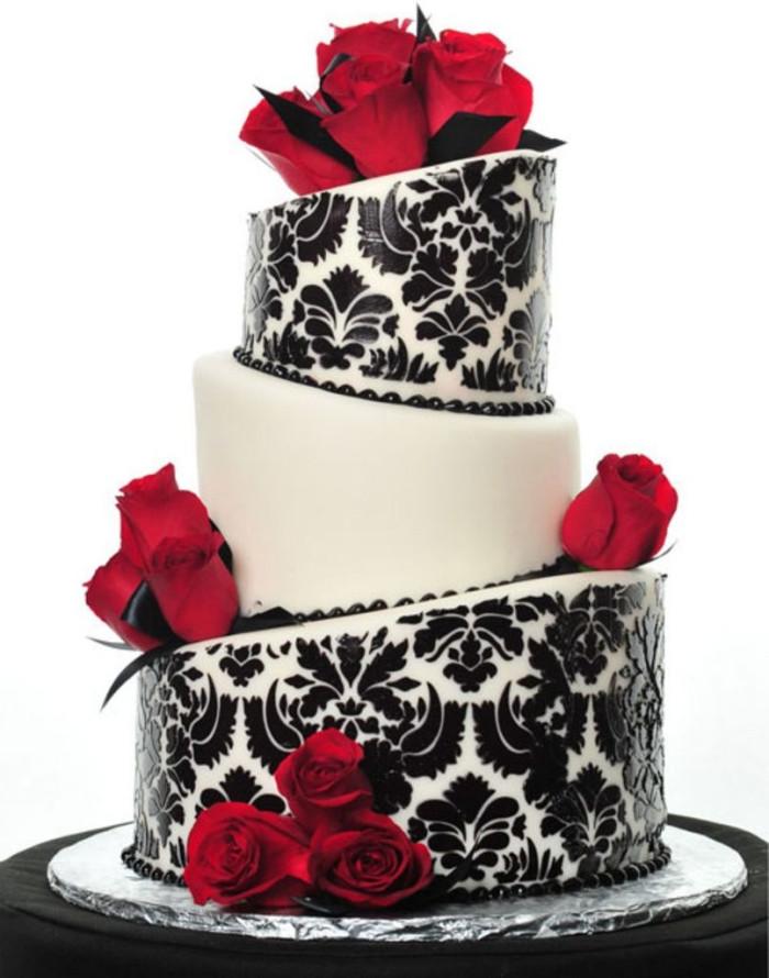 Hochzeitstorte Rot Weiß  Schwarze Hochzeitstorte Originelle Idee für den Empfang