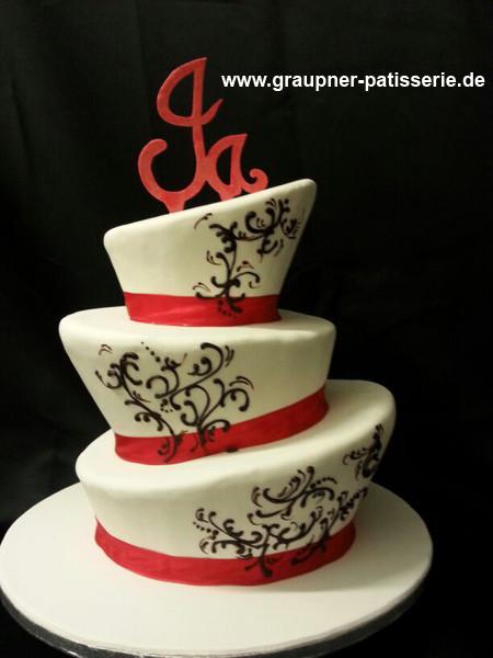 Hochzeitstorte Rot Weiß  Galerie Hochzeitstorten