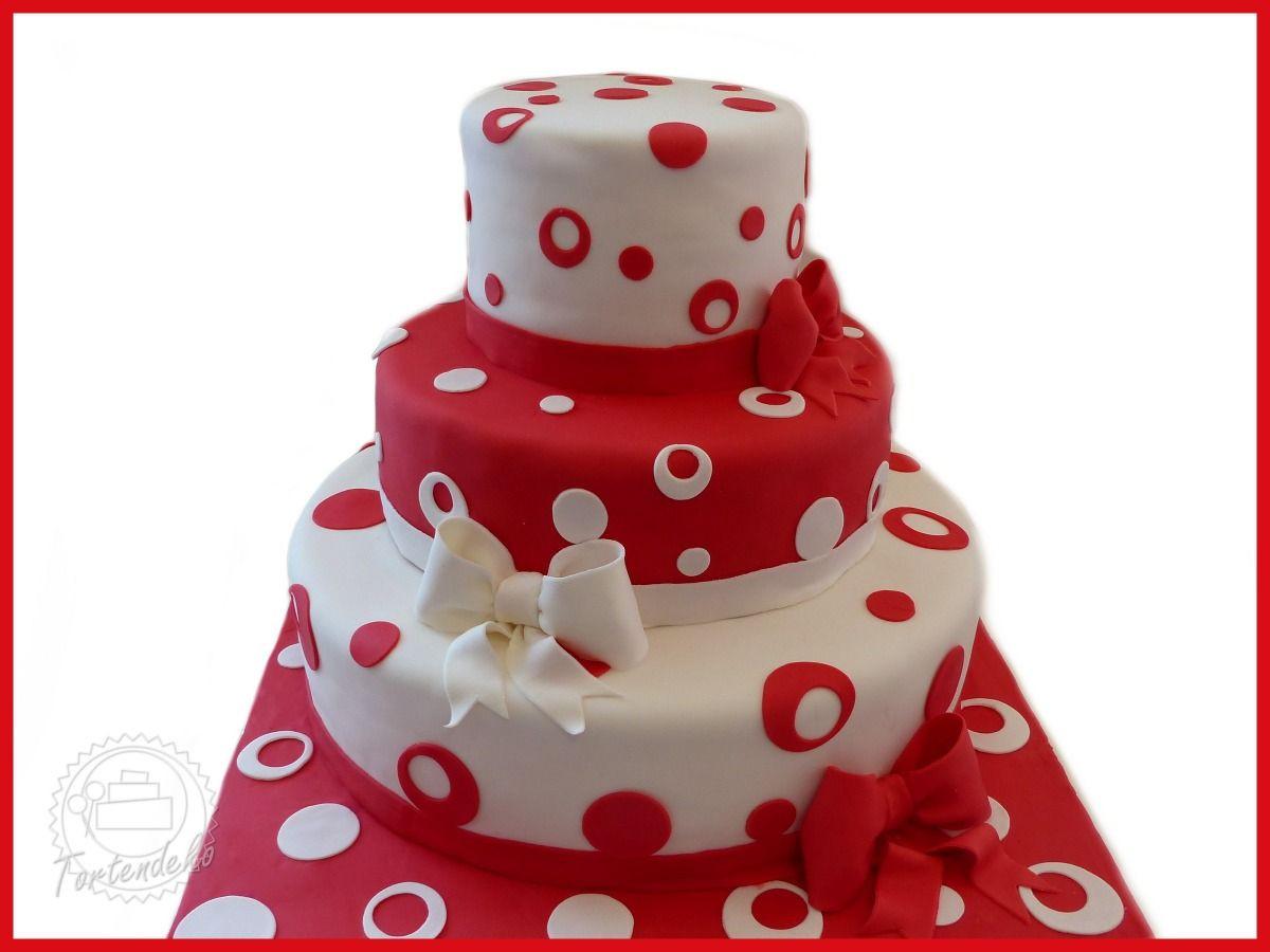 Hochzeitstorte Rot Weiß  Hochzeitstorte mit rot weiß Punkten und Schleife