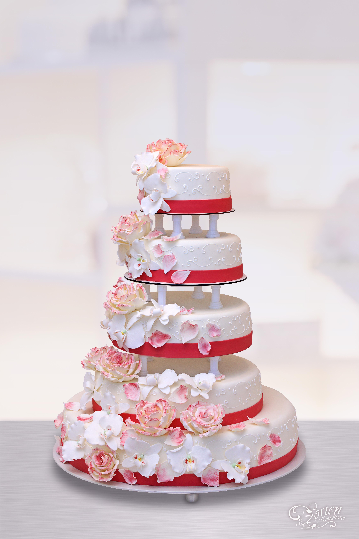 Hochzeitstorte Rot Weiß  Hochzeitstorten Schlidt Hochzeitstorten