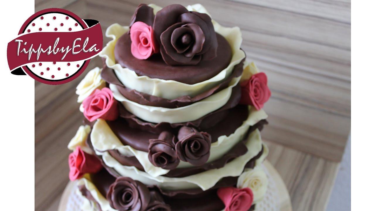 Hochzeitstorte Selber Backen Ohne Fondant  3 stöckige Torte Verlobungstorte mit Schokoladen