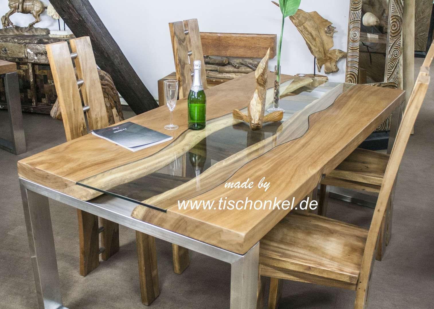 Holz Esstisch  Holz Esstisch Akazie massiv Metall 200x100cm – ForAfrica