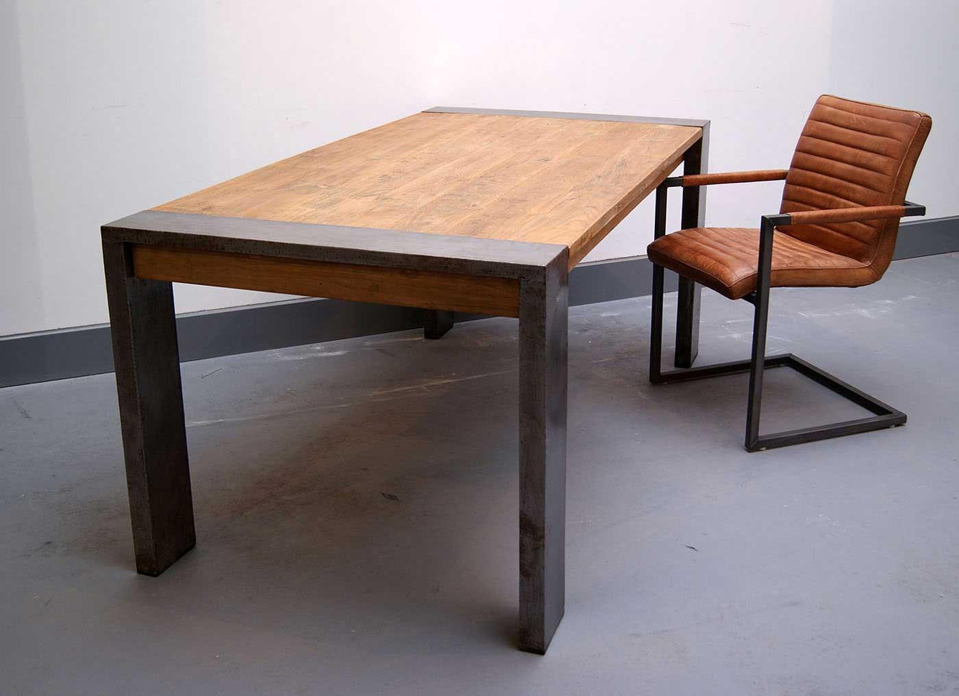 Holz Esstisch  Esstisch Holz Stahl Industriedesign kaufen im borono