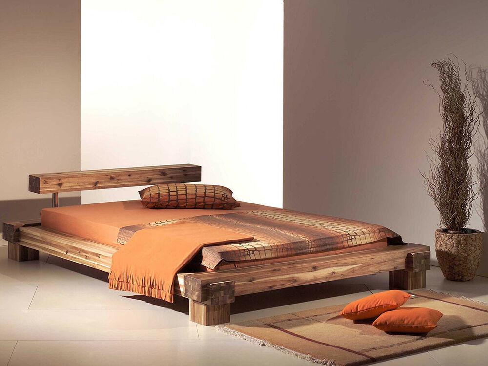 Holzbett Massiv  Massivholzbett Doppelbett Holzbett Bett Balkenbett Akazie