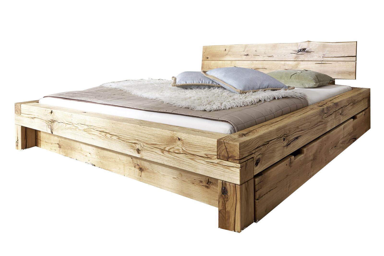 Holzbett Massiv  Massiv Holzbett Wildeiche 180 x 200 EVITA Bett11