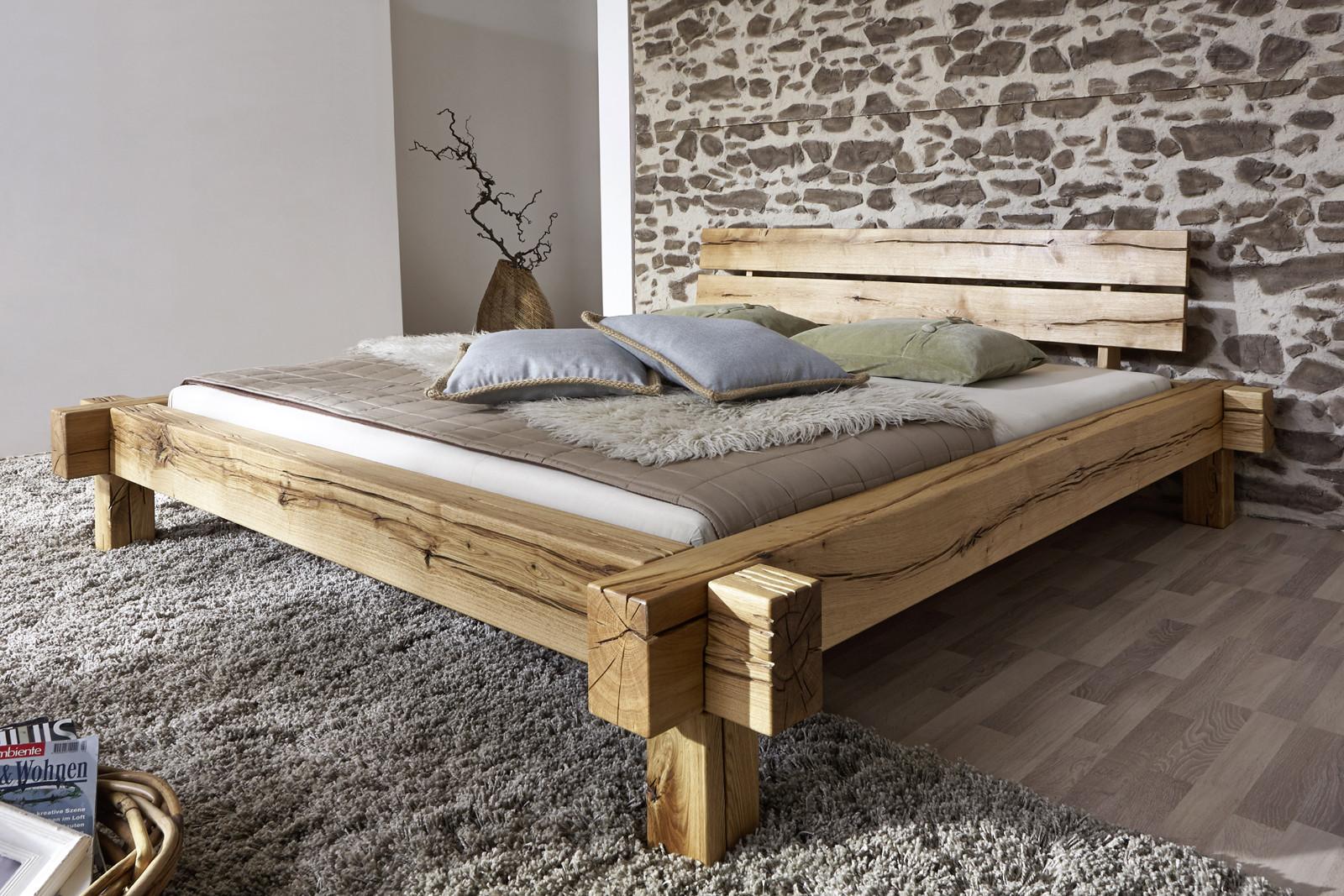 Holzbett Massiv  SAM Balkenbett JONAS Massiv Holzbett 160 x 200 cm