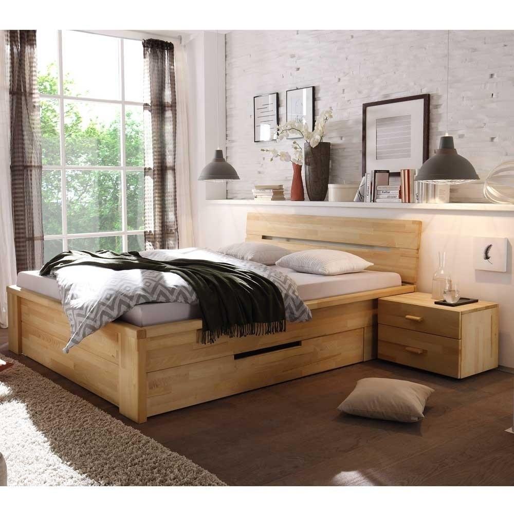 Holzbett Massiv  Massives Holzbett Vergoma mit Schubladen