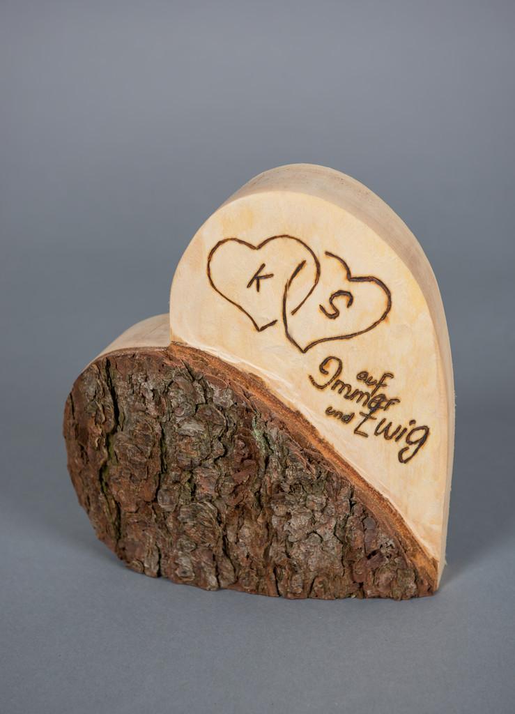 Holzherz Hochzeit  Deko aus Holz Holzherz