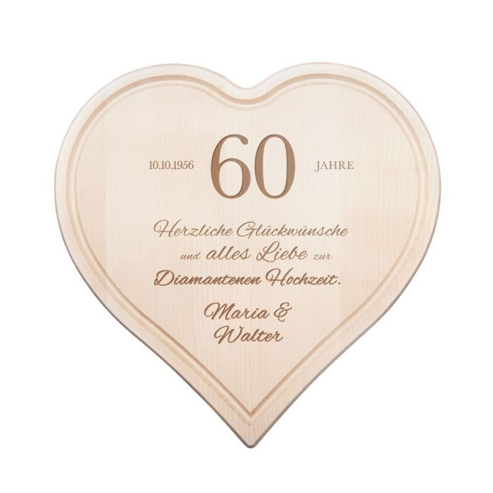 Holzherz Hochzeit  Graviertes Holzherz zur diamantenen Hochzeit individuell