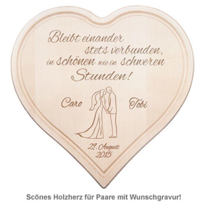 Holzherz Hochzeit  Holzherz zur Hochzeit Paarsilhouette mit Treuespruch