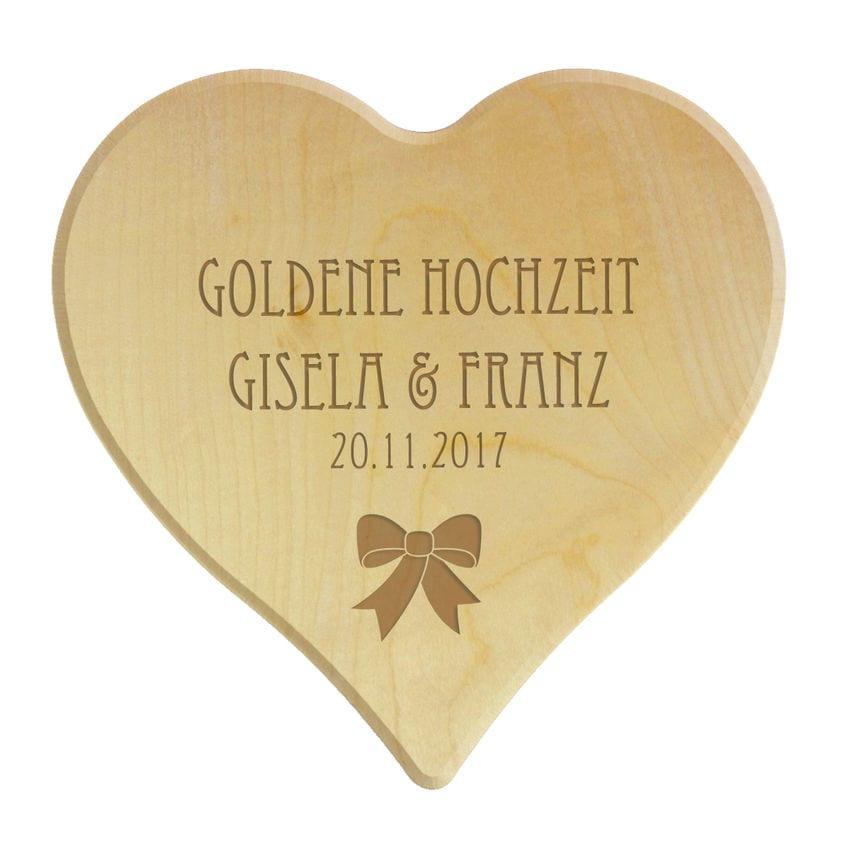 Holzherz Hochzeit  Holzherz zur Goldenen Hochzeit Gravur Hausnummern und