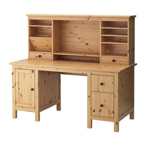 Ikea Hemnes Schreibtisch  HEMNES Schreibtisch mit Aufsatz hellbraun IKEA