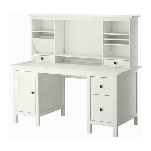 Ikea Hemnes Schreibtisch  HEMNES BUREAU MET AANBOUWDEEL WITGEBEITST 155X137 CM