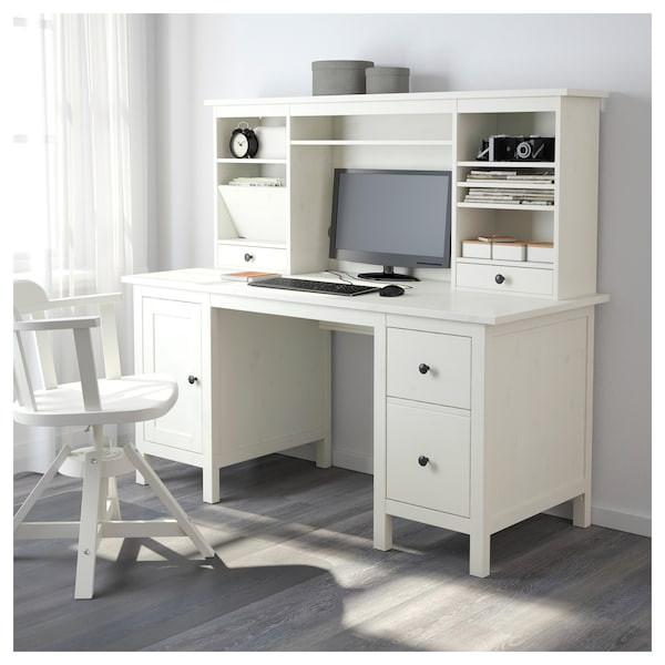 Ikea Hemnes Schreibtisch  HEMNES Schreibtisch mit Aufsatz weiß gebeizt IKEA