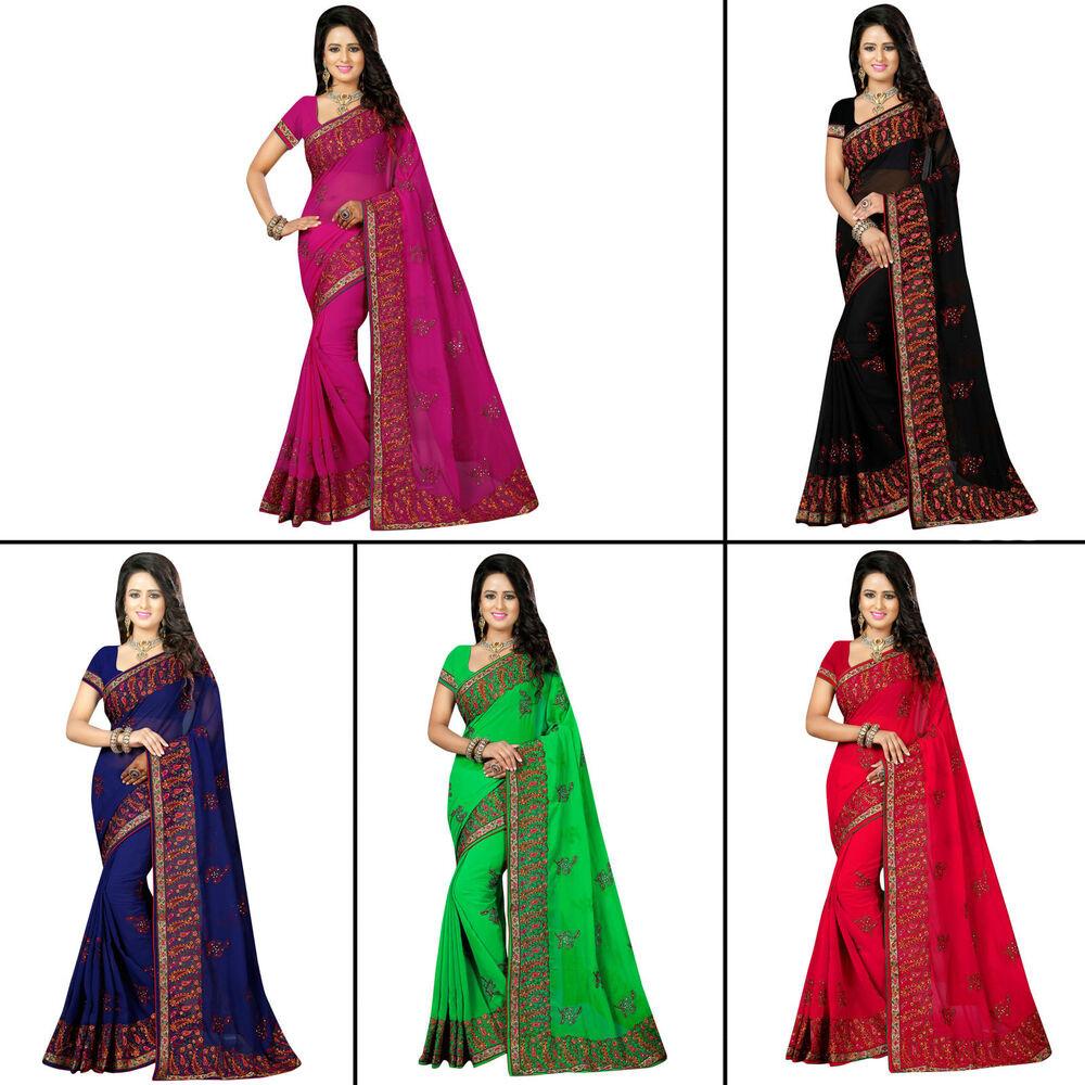 Indische Hochzeit Kleidung  Frauen indische Hochzeit schwarz Sari Party Kleidung Saree