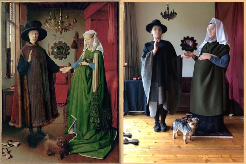 Jan Van Eyck Arnolfini Hochzeit  Tableaux Vivants 2017 II Kunst nachstellen